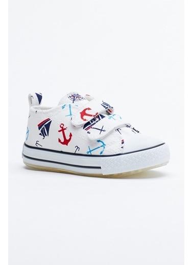 Tonny Black Beyaz Lacivert Çocuk Spor Ayakkabı Işıklı Cırtlı Tb997 Beyaz